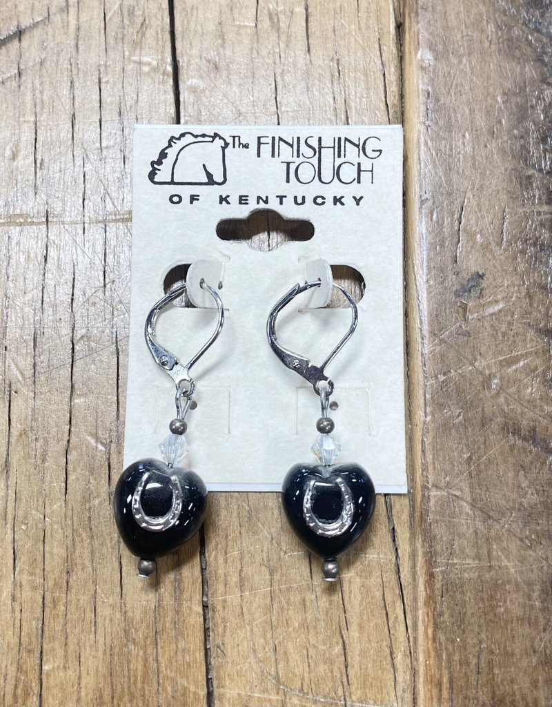 The Finishing Touch Of Kentucky Black Heart with Horseshoe Dangling Earrings