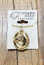 The Finishing Touch Of Kentucky Gold Horseshoe with Horse Head Necklace