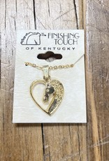 The Finishing Touch Of Kentucky Gold Heart with Horse Head Necklace
