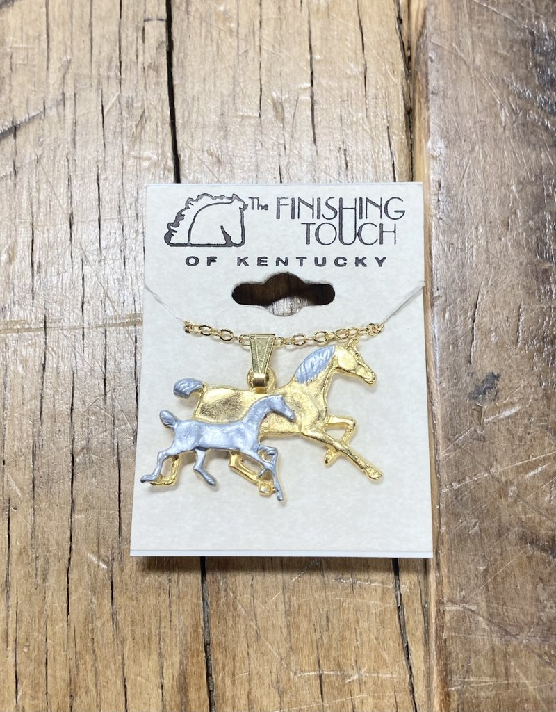 The Finishing Touch Of Kentucky Mare and Foal Gold and Silver Necklace