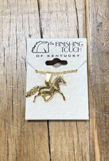 The Finishing Touch Of Kentucky Mare and Foal Gold Necklace