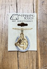 The Finishing Touch Of Kentucky Silver Horseshoe with Gold Horse Head Necklace