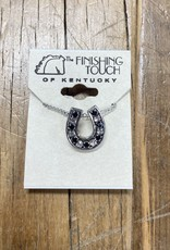 The Finishing Touch Of Kentucky Silver Horseshoe with Black & Silver Crystal Necklace