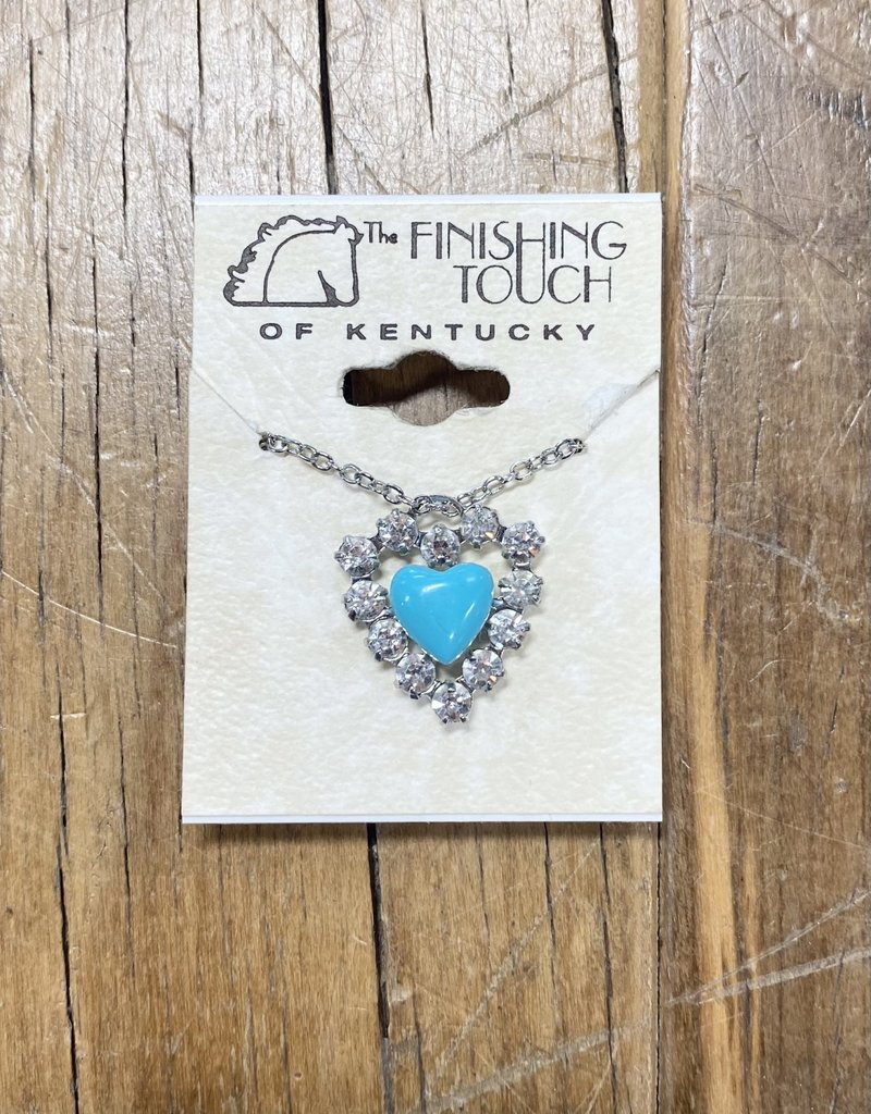 The Finishing Touch Of Kentucky Rhinestone Heart with Smaller Turquoise Heart Necklace