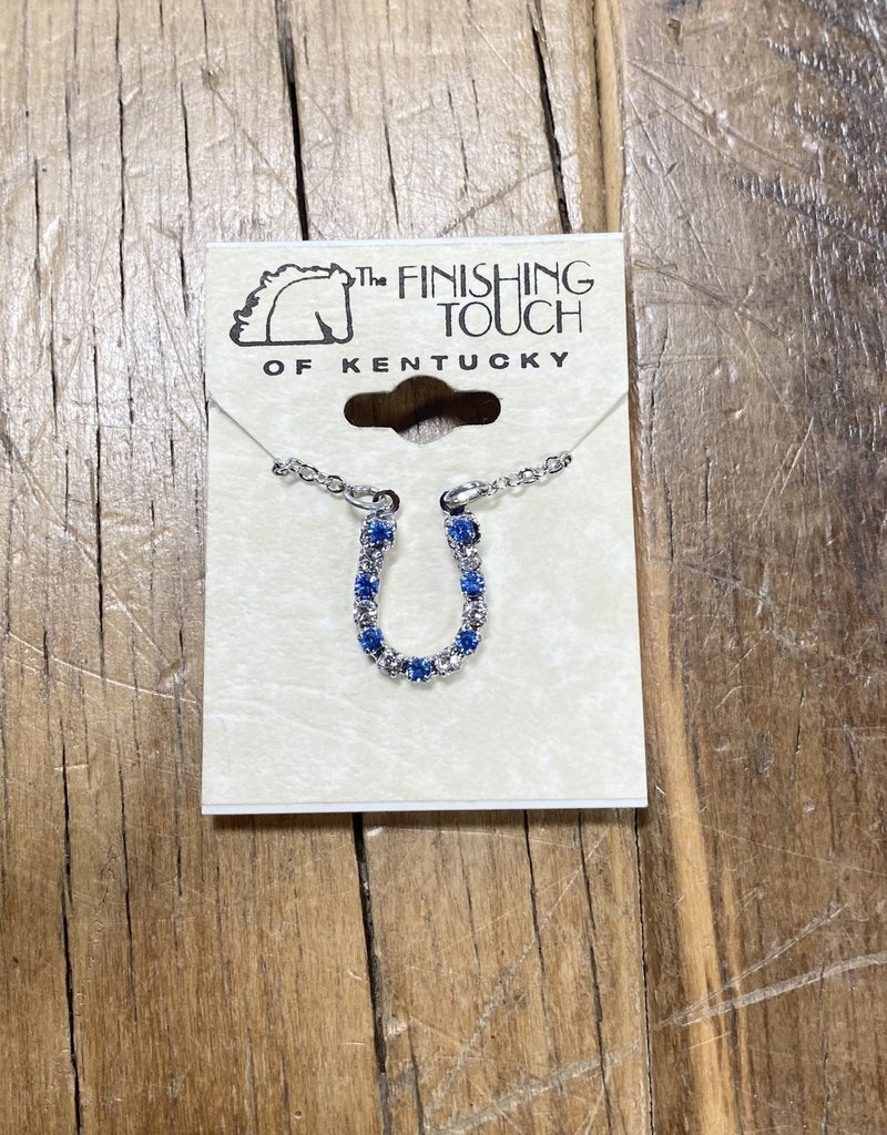 The Finishing Touch Of Kentucky Sapphire & Silver Crystal Horseshoe Necklace