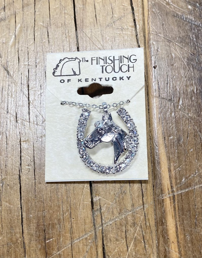The Finishing Touch Of Kentucky Silver Crystal Horseshoe with Horse Head Neckalce