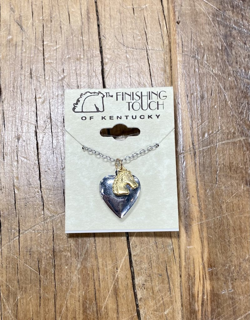 The Finishing Touch Of Kentucky Gold  Mini Horse Head with Silver Locket