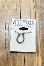 The Finishing Touch Of Kentucky Pastel Rainbow Crystal Horseshoe Necklace