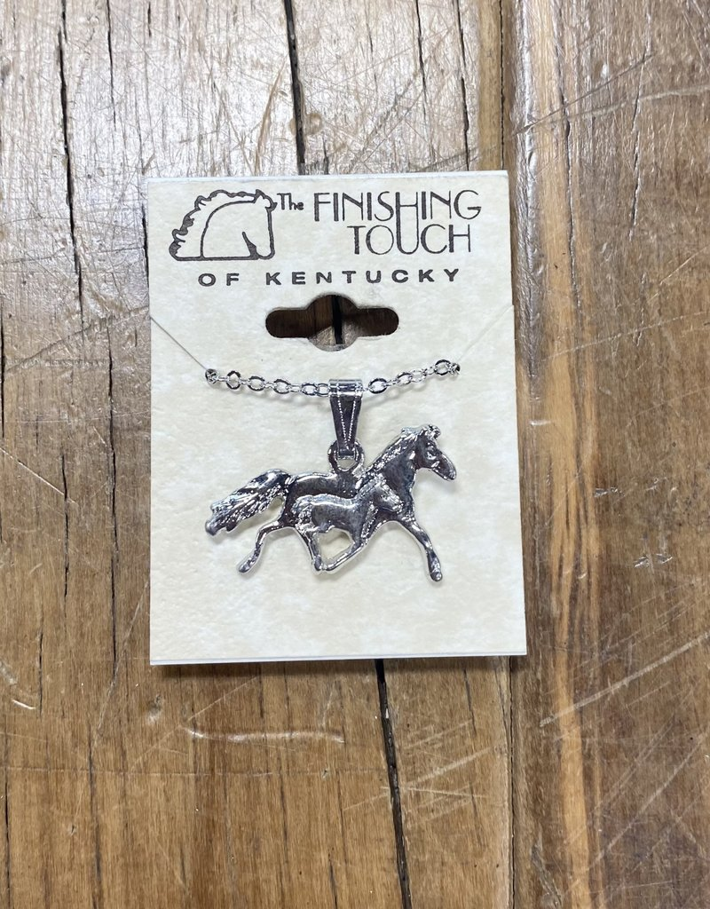 The Finishing Touch Of Kentucky Mare & Foal Silver Necklace
