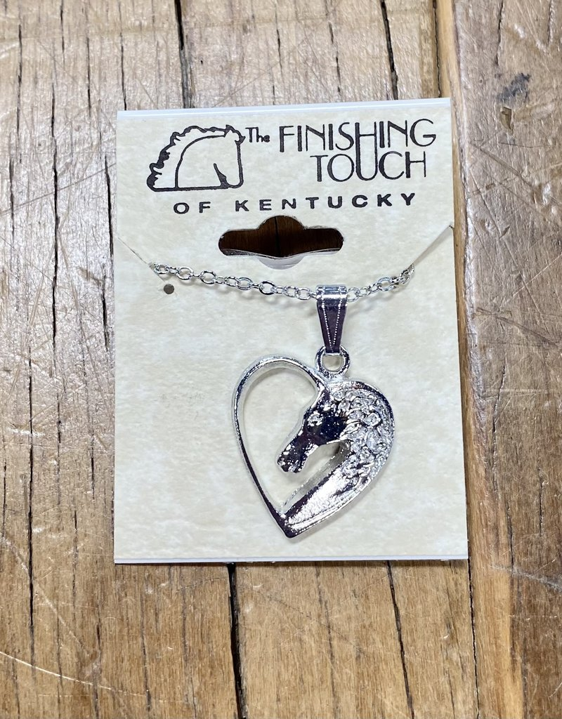 The Finishing Touch Of Kentucky Horse Head with Silver Heart Necklace