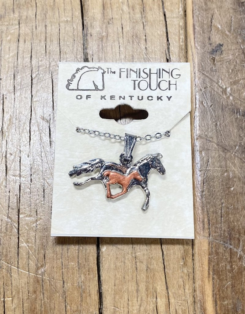 The Finishing Touch Of Kentucky Silver/Copper Mare & Foal Necklace