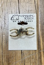 The Finishing Touch Of Kentucky Gold Horseshoe and Horse Head Small Stock Pin