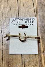 The Finishing Touch Of Kentucky Gold Horseshoe and Crop Medium Stock Pin