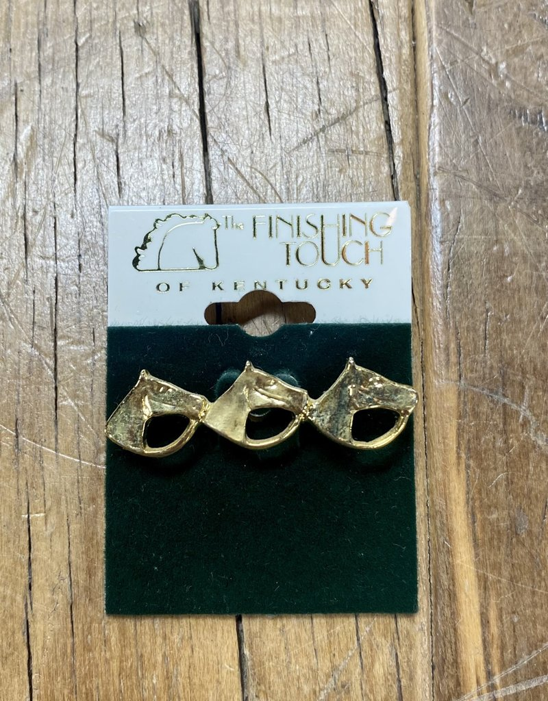The Finishing Touch Of Kentucky Gold 3 Horse Head with Bridle Small Stock Pin