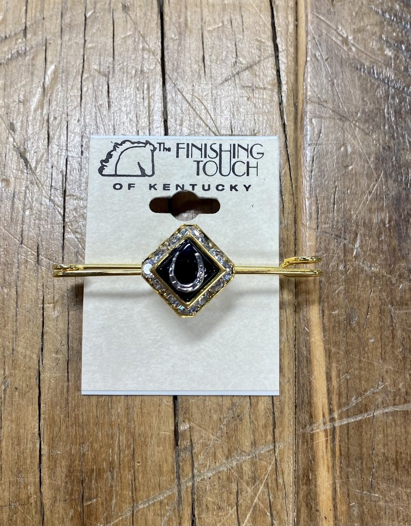 The Finishing Touch Of Kentucky Black Onyx Crystal and Gold with Horse Shoe Stock Pin