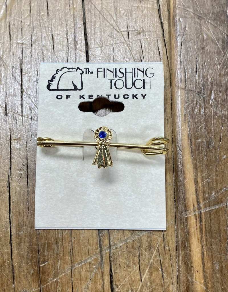 The Finishing Touch Of Kentucky Blue Ribbon and Gold Small Stock Pin