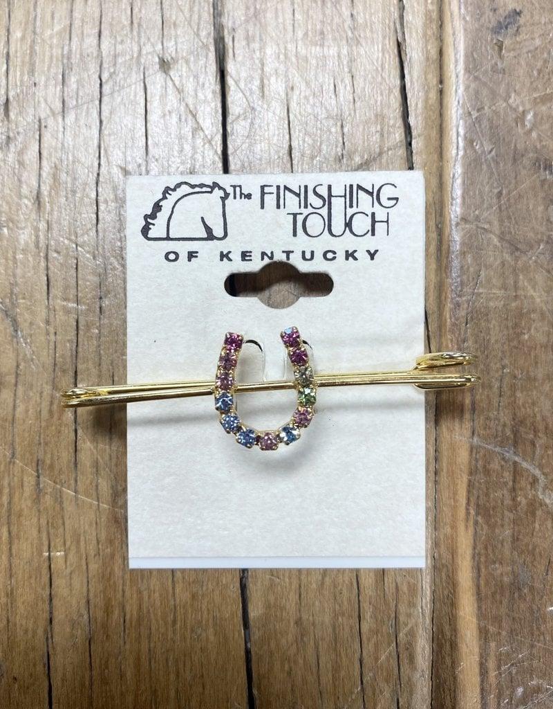 The Finishing Touch Of Kentucky Pastel Rainbow Rhinestone Horse Shoe and Gold Medium Stock Pin