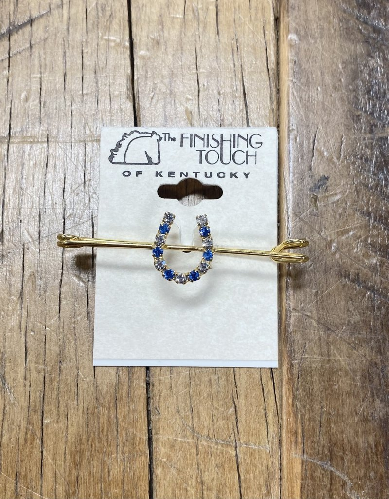 The Finishing Touch Of Kentucky Sapphire and Silver Rhinestone Horse Shoe  on Gold Medium Stock Pin