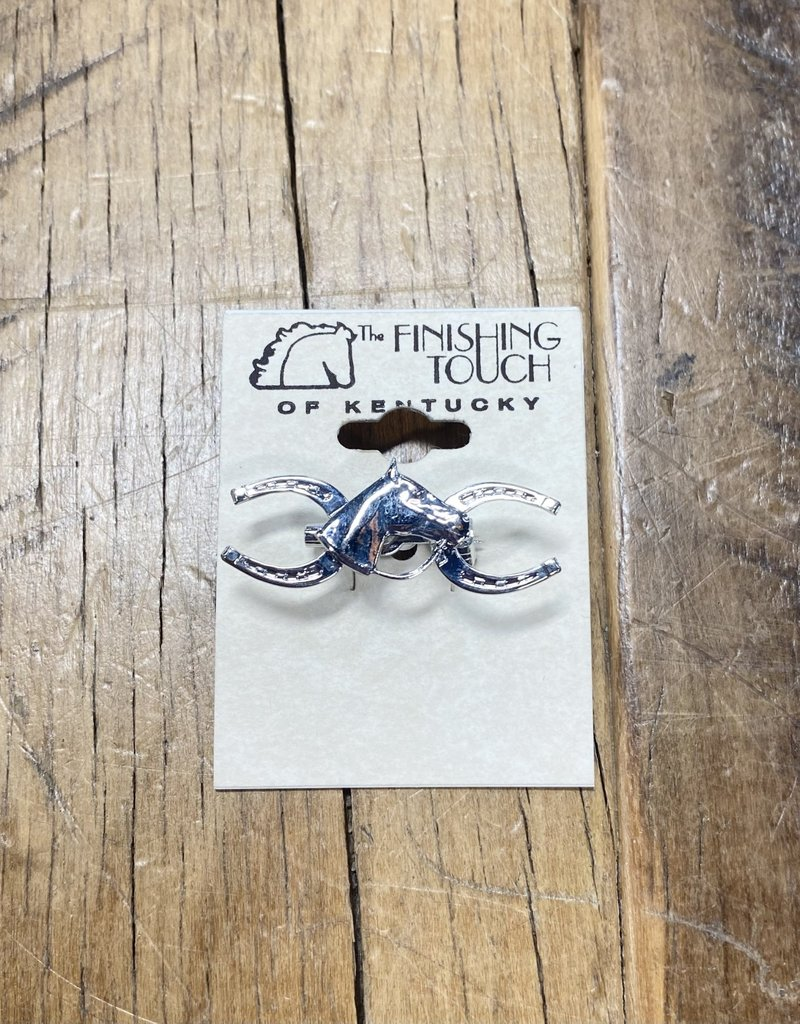 The Finishing Touch Of Kentucky Silver Horseshoe and Horse Head with Bridle Stock Pin