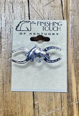 The Finishing Touch Of Kentucky Silver Horse Shoe and Bridle Small Stock Pin