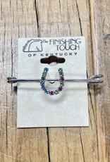 """The Finishing Touch Of Kentucky Pastel Rainbow Horse Shoe  On Silver 2"""" Stock Pin"""