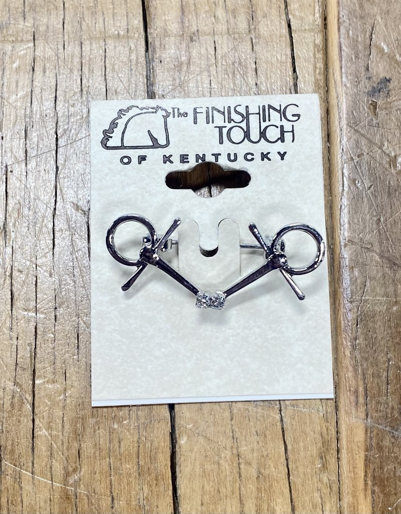 The Finishing Touch Of Kentucky Bent Silver Snaffle with Rhinestones On Small Stock Pin