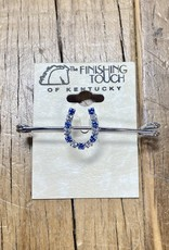 """The Finishing Touch Of Kentucky Sapphire and Silver Rhinestone Horse Shoe on 2"""" Stock Pin"""