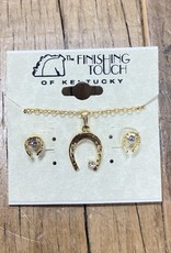 The Finishing Touch Of Kentucky Gold Horse Shoe with Rhinestones Gift Set