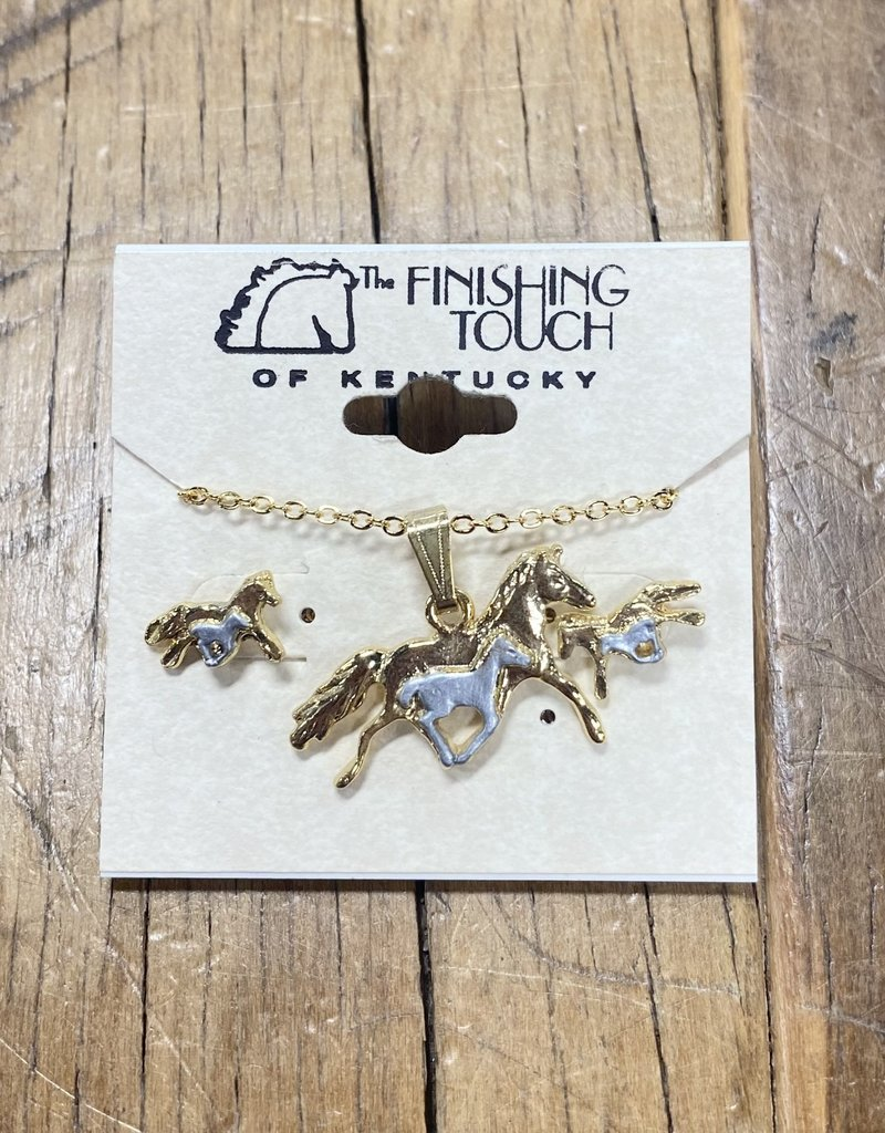 The Finishing Touch Of Kentucky Silver and Gold Mare & Foal Gift Set