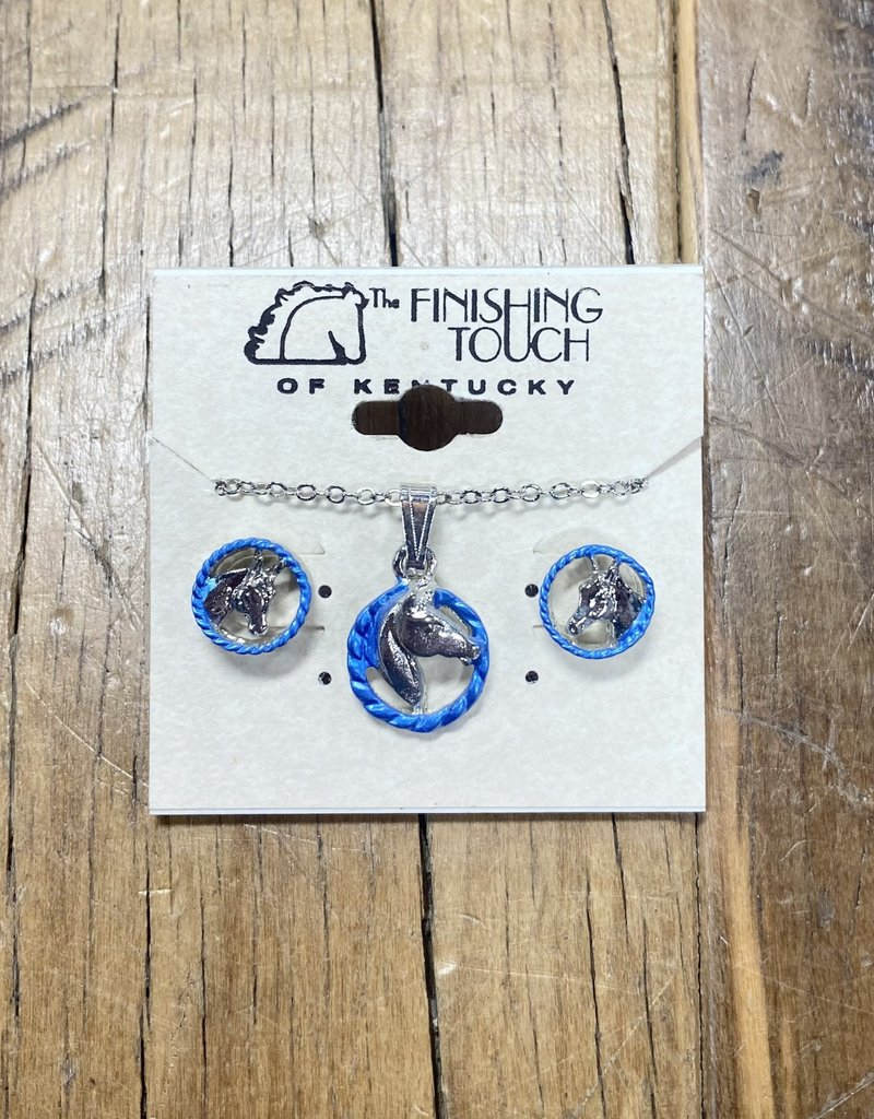The Finishing Touch Of Kentucky Silver Horse Head with Blue Rope Gift Set