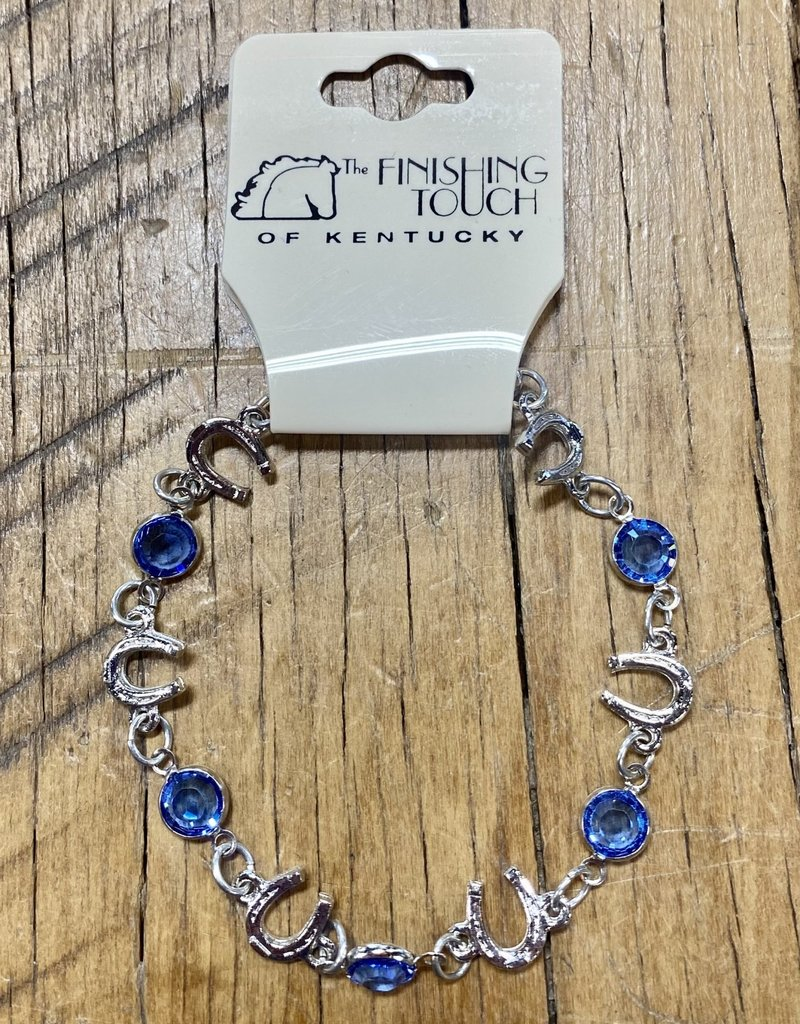 The Finishing Touch Of Kentucky Sapphire and Silver Horse Shoe Bracelet
