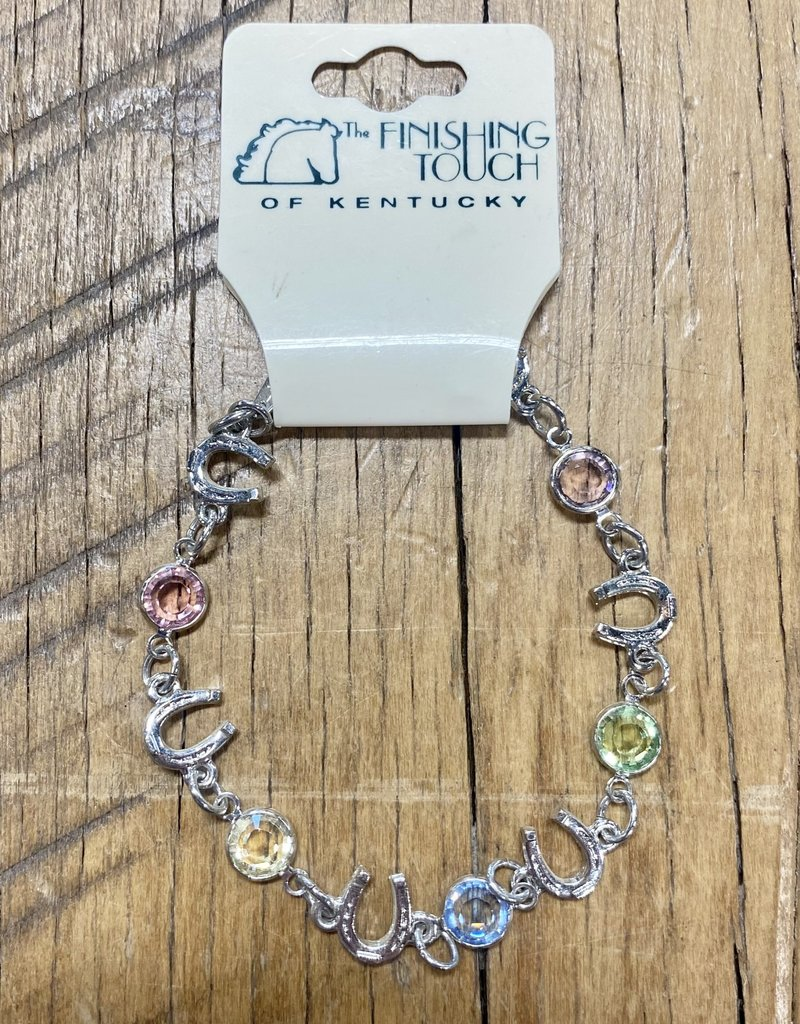 The Finishing Touch Of Kentucky Pastel Rainbow Crystals and Silver Horse Shoe Bracelet