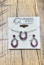 The Finishing Touch Of Kentucky Pink Rhinestone and Silver Horse Shoe Gift Set