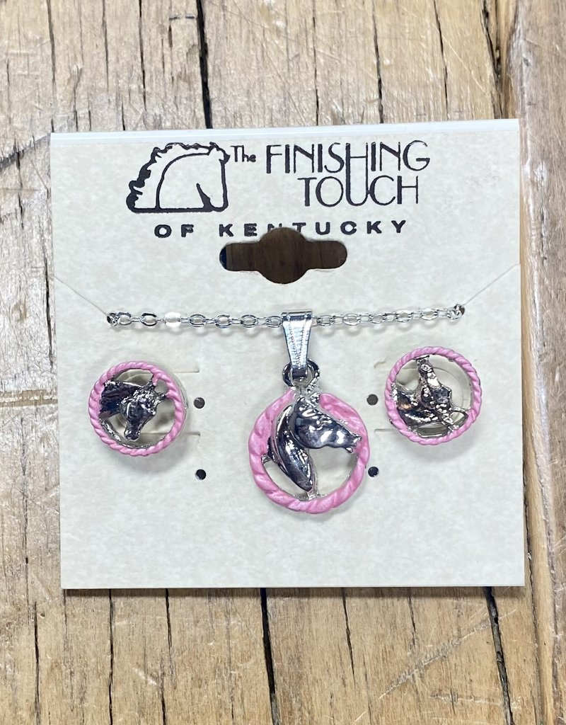 The Finishing Touch Of Kentucky Silver Horse Head with Pink Rope Gift Set