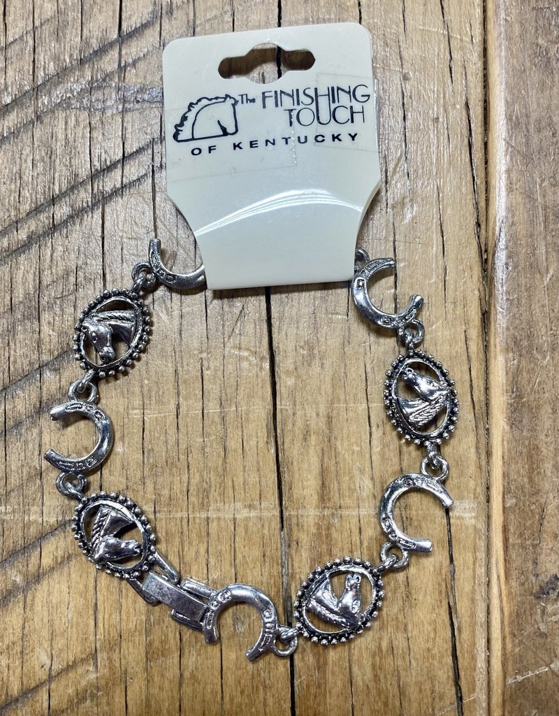 The Finishing Touch Of Kentucky Silver Horse Shoe and Horse Head with Rope Bracelet