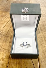 Kelly Herd Kelly Herd Blue and Clear Horseshoe Ring- Sterling Silver Size 7