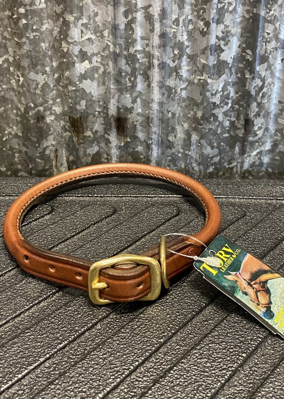 Tory Leather Tory Leather Co. Rolled Dog Collar in Oakbark