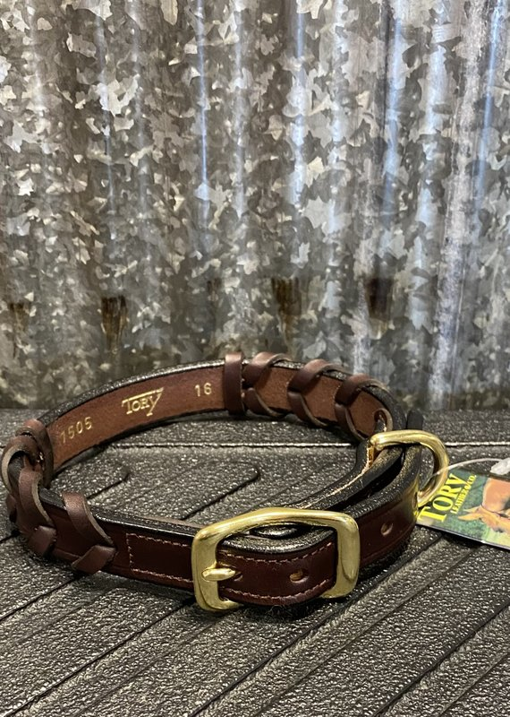 Tory Leather Tory Leather Co. Laced Collar in Havana (Space for Nameplate)
