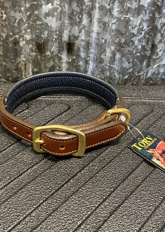 Tory Leather Tory Leather Co. Padded Dog Collar in Oakbark/ Navy