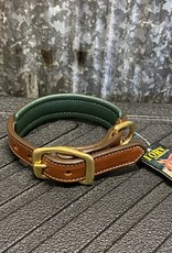 Tory Leather Tory Leather Co. Padded Dog Collar in Havana/ Green