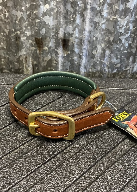 Tory Leather Tory Leather Co. Padded Dog Collar in Oakbark/ Green