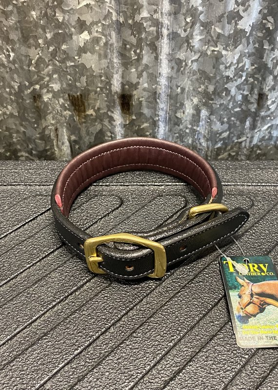 Tory Leather Tory Leather Co. Padded Dog Collar in Black/ Oxblood