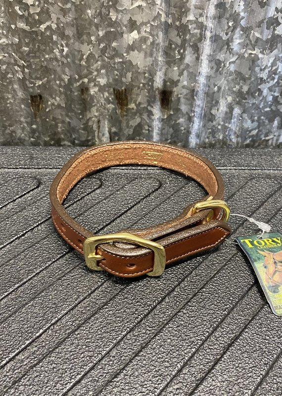 """Tory Leather Tory Leather Co. 3/4"""" Raised Dog Collar in Oakbark (Space for a Nameplate)"""