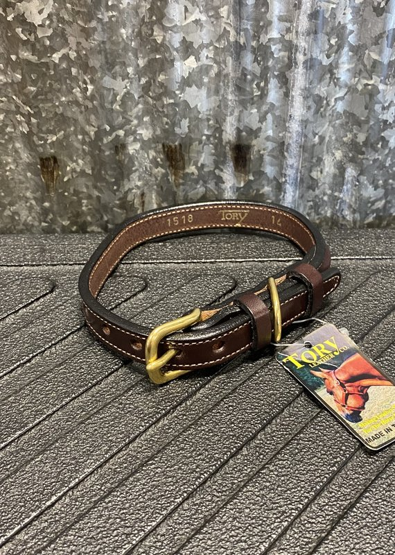 """Tory Leather Tory Leather Co. 5/8"""" Raised Dog Collar in Havana (Space for a Nameplate)"""
