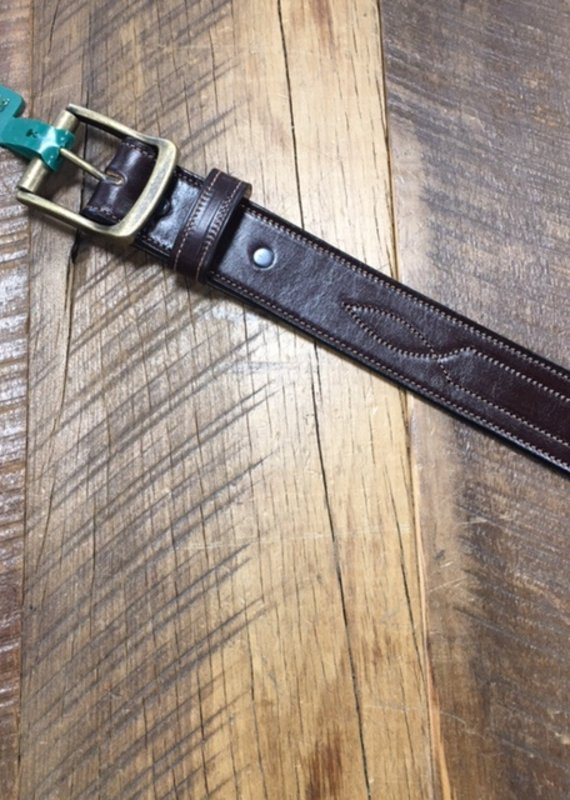 """Tory Leather Tory 1 1/2"""" Repeated Stitch Leather Belt Havana"""