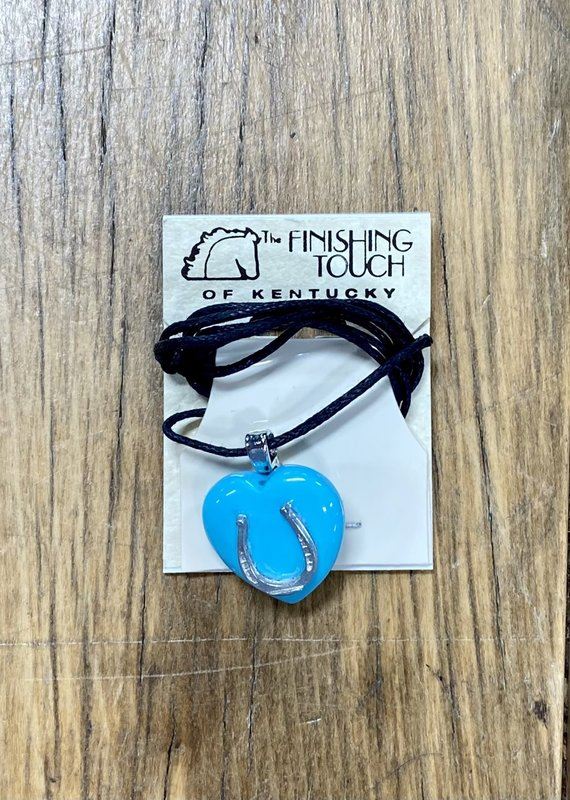 The Finishing Touch Of Kentucky Turquoise Heart with Horseshoe Necklace