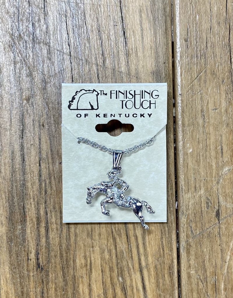 The Finishing Touch Of Kentucky Silver Jumper with Rider Necklace
