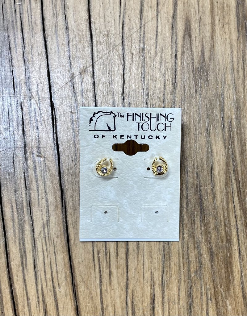 The Finishing Touch Of Kentucky Mini Gold Horseshoe with Crystal Earrings Gold