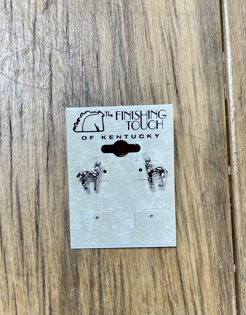 The Finishing Touch Of Kentucky Foal with Turned Head Silver Earrings
