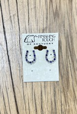The Finishing Touch Of Kentucky Sapphire/Crystal Horseshoe Earrings